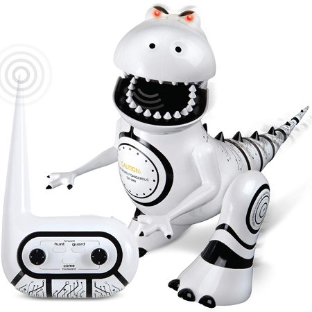(Sharper Image Interactive RC Robotosaur Dinosaur, Built-in Mood Sensors and Color-Changing LED Eyes, Motion Detection, Growls, Snores, Battery Operated- White/Black)