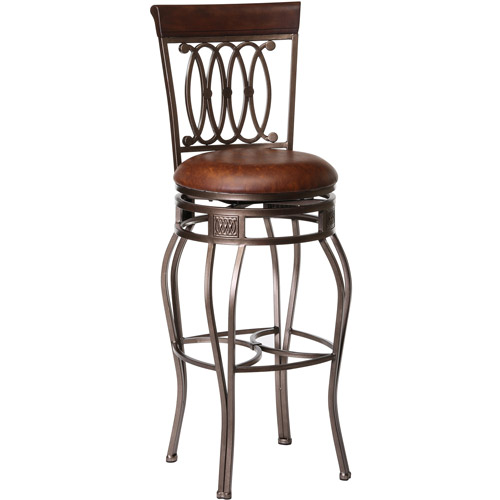 "Hillsdale Furniture Montello 43"" Swivel Counter Stool, Old Steel Finish with Brown Faux Leather"