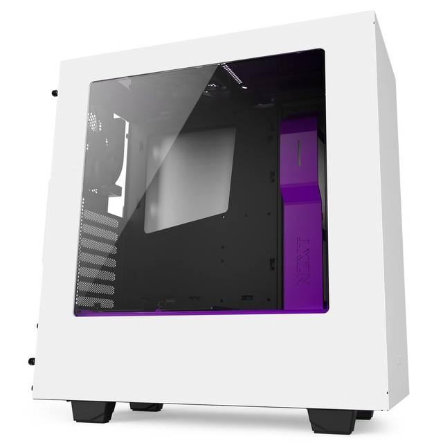Nzxt CA-S340W-W3 S340 No Power Supply Atx Mid Tower (matte White + Purple)