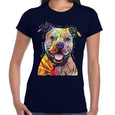 Tank Top Doggie T-shirt - Beware Pitbulls Tshirt Dean Russo Colorful Pet Dog Lover Women Tee Tank Top Blue
