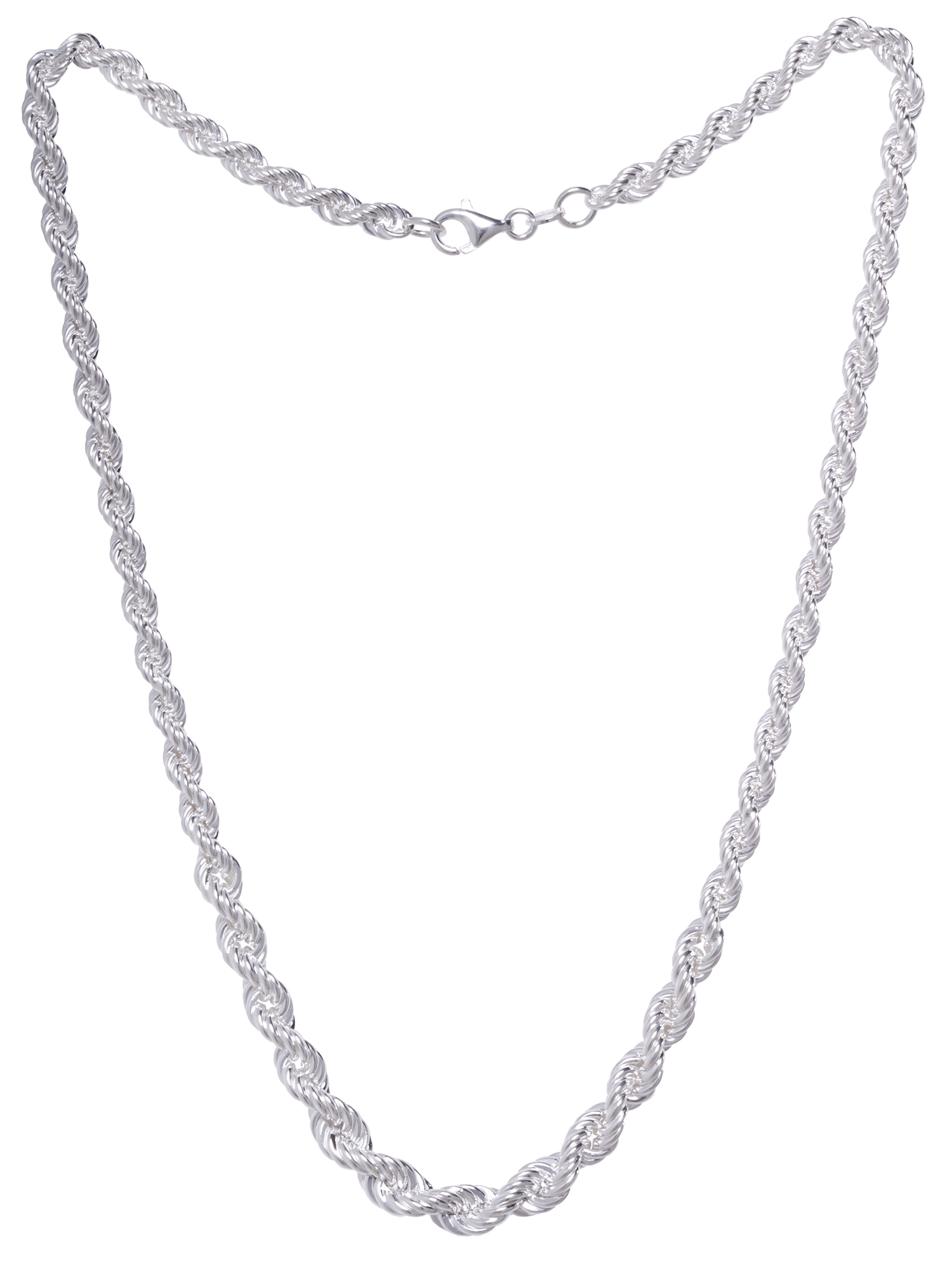 """Sterling Silver Hollow Rope Chain Necklace 18"""""""