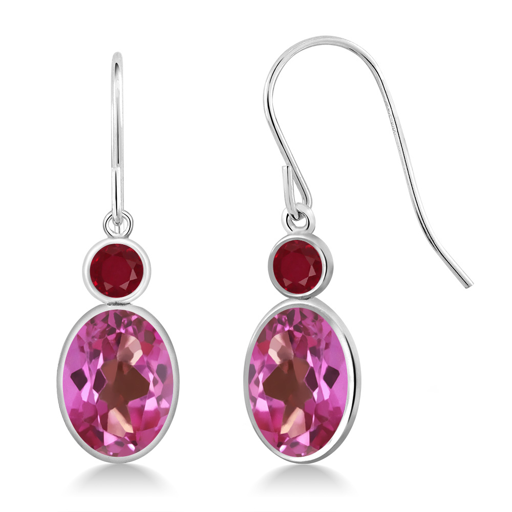 3.28 Ct Oval Pink Mystic Topaz Red Ruby 14K White Gold Earrings by
