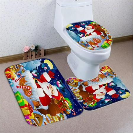 Cover Door Lid - 3Pcs Santa Claus Christmas Bathroom Set Pedestal Rug + Lid Toilet Cover + Non-slip Bath Mat Doormat Carpet