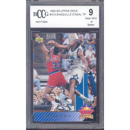 Shaquille Oneal Upper Deck (1992-93 upper deck #474 SHAQUILLE O'NEAL TP  orlando magic rookie BGS BCCG 9 )