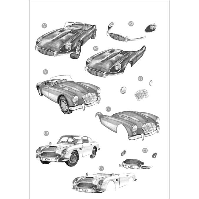 "3D Die-Cut Decoupage Sheet 8.3""X11.69""-Monochrome Vintage Cars"