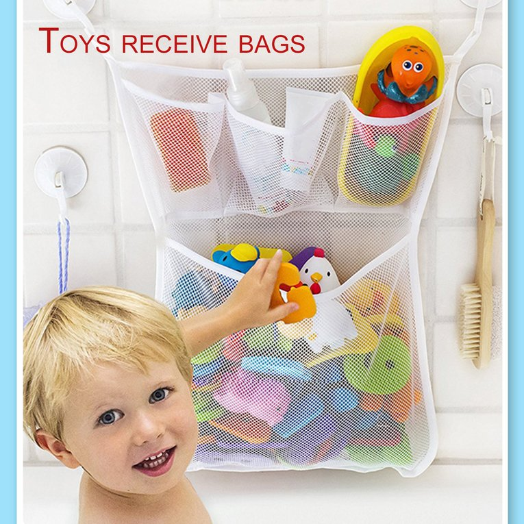 Bathroom Hanging Storage Bag Mesh Net Kids Baby Bathtub Toy Holder Organizer