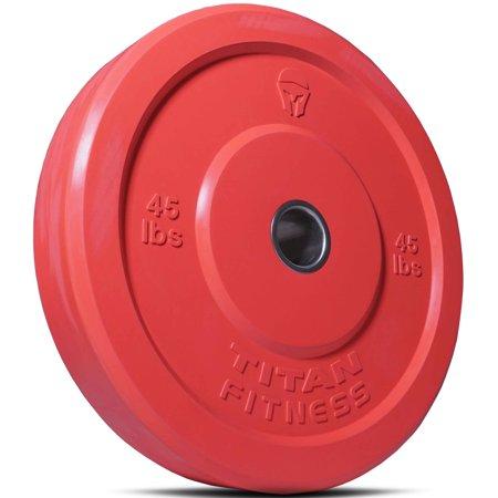 Titan Fitness 45 lb Olympic Bumper Plate Red Benchpress Strength Training Power ()