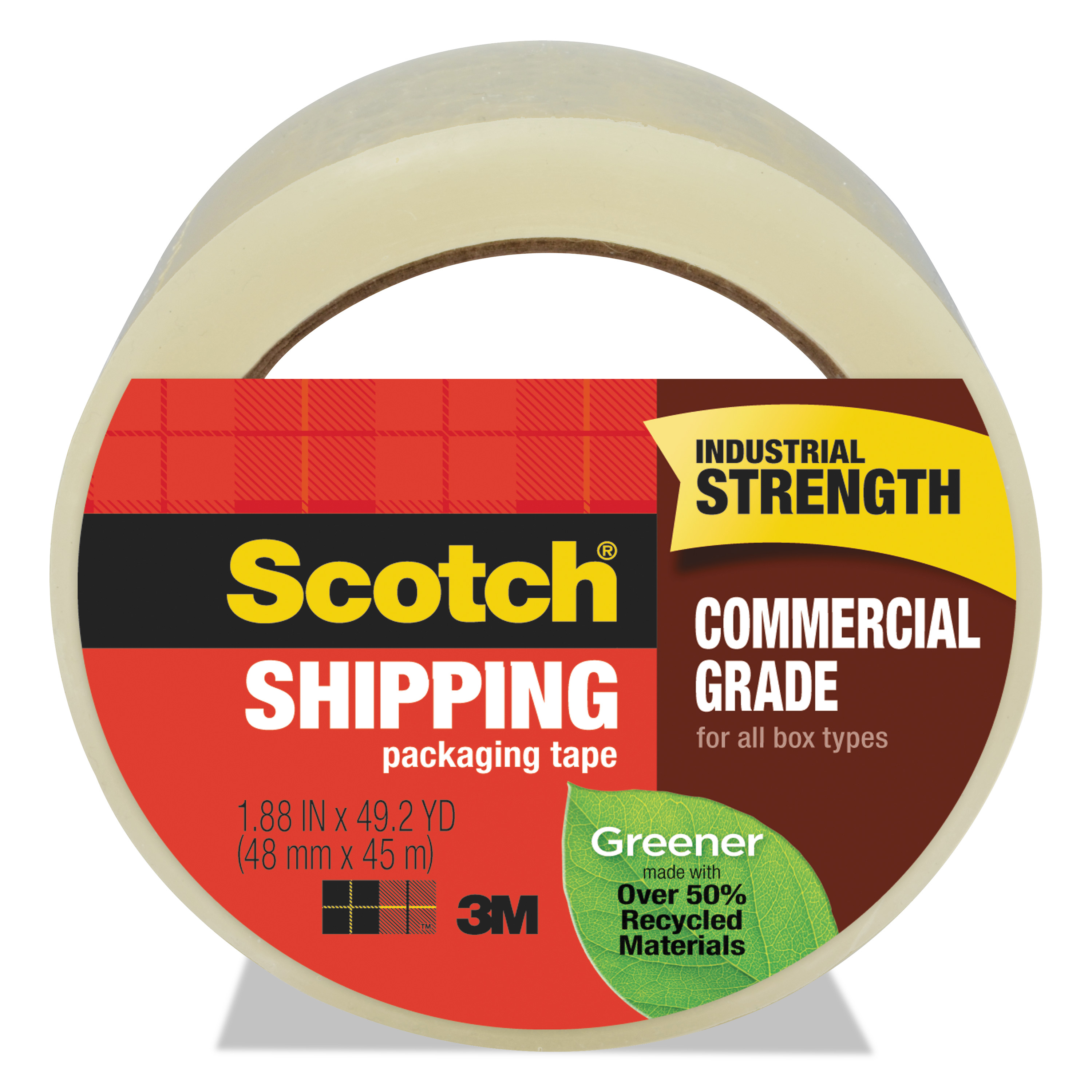 """Scotch Greener Commercial Grade Packaging Tape, 1.88"""" x 49.2 yd, 3"""" Core, Clear -MMM3750G"""