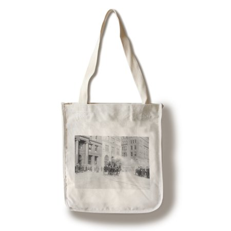 New York City - Fire Department's Horse Drawn Engine - Vintage Photograph (100% Cotton Tote Bag - Reusable) - Horse Drawn Fire Engine