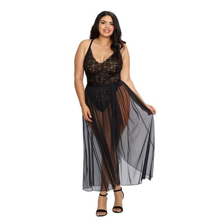 Opaque Sheer Teddies - Plus Size Elegant Mosaic Stretch Lace Teddy and Sheer Maxi Skirt Lingerie