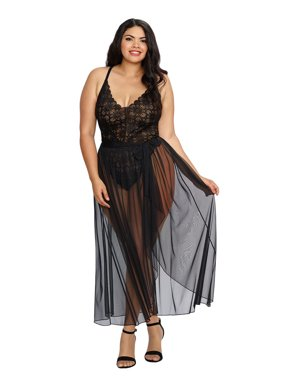 2fc0199b724 Product Image Plus Size Elegant Mosaic Stretch Lace Teddy and Sheer Maxi  Skirt Lingerie