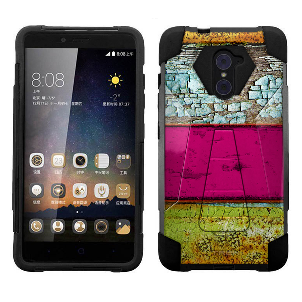ZTE Imperial Max Hybrid Stand Case - Hot Pink Stripped Wood Panel