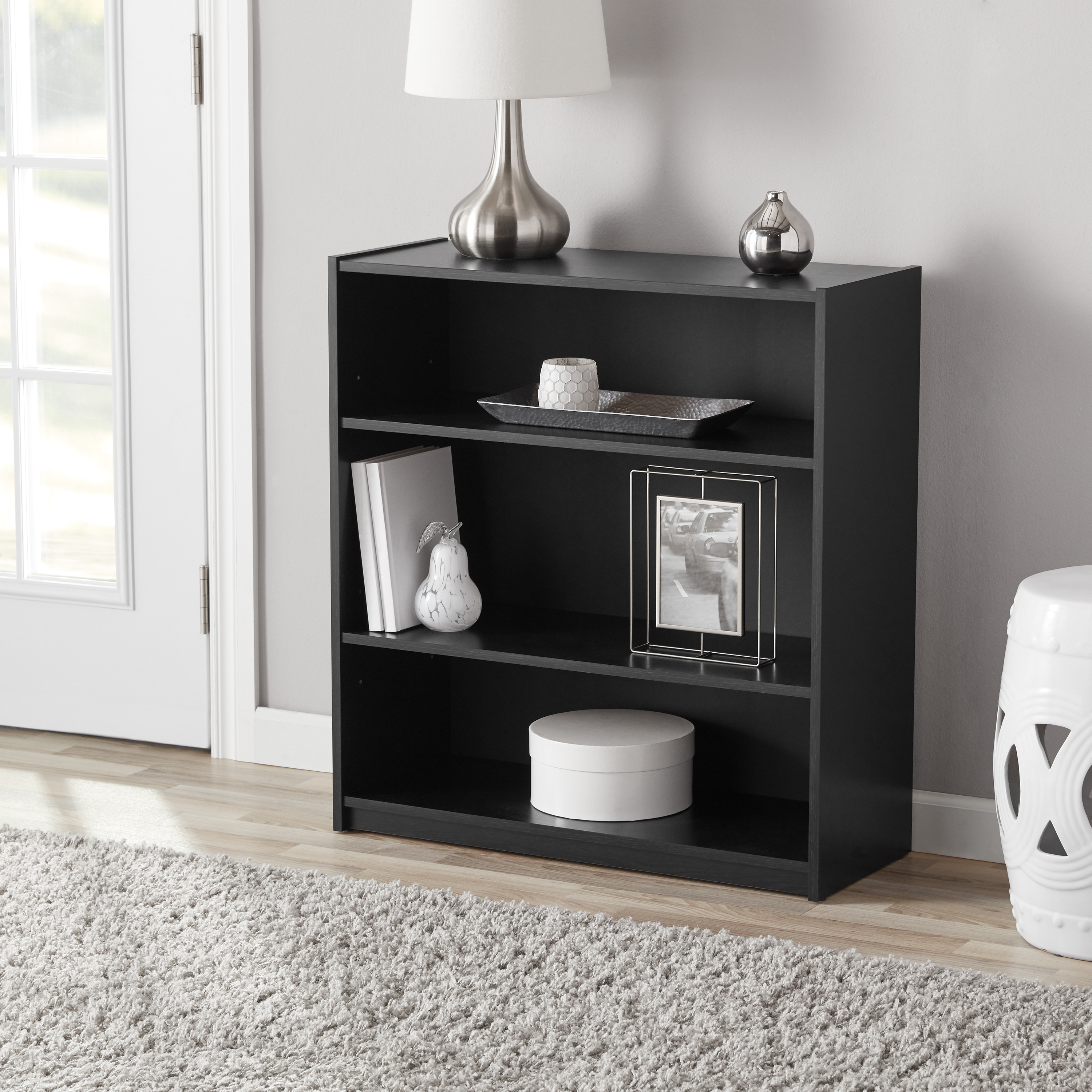 "Mainstays 31"" 3-Shelf Standard Bookcase, Multiple Colors"