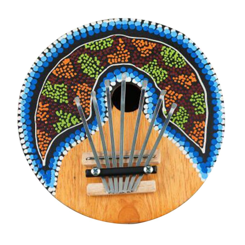 Kalimba Thumb Piano 7 Keys Tunable Coconut Shell Painted Musical Instrument