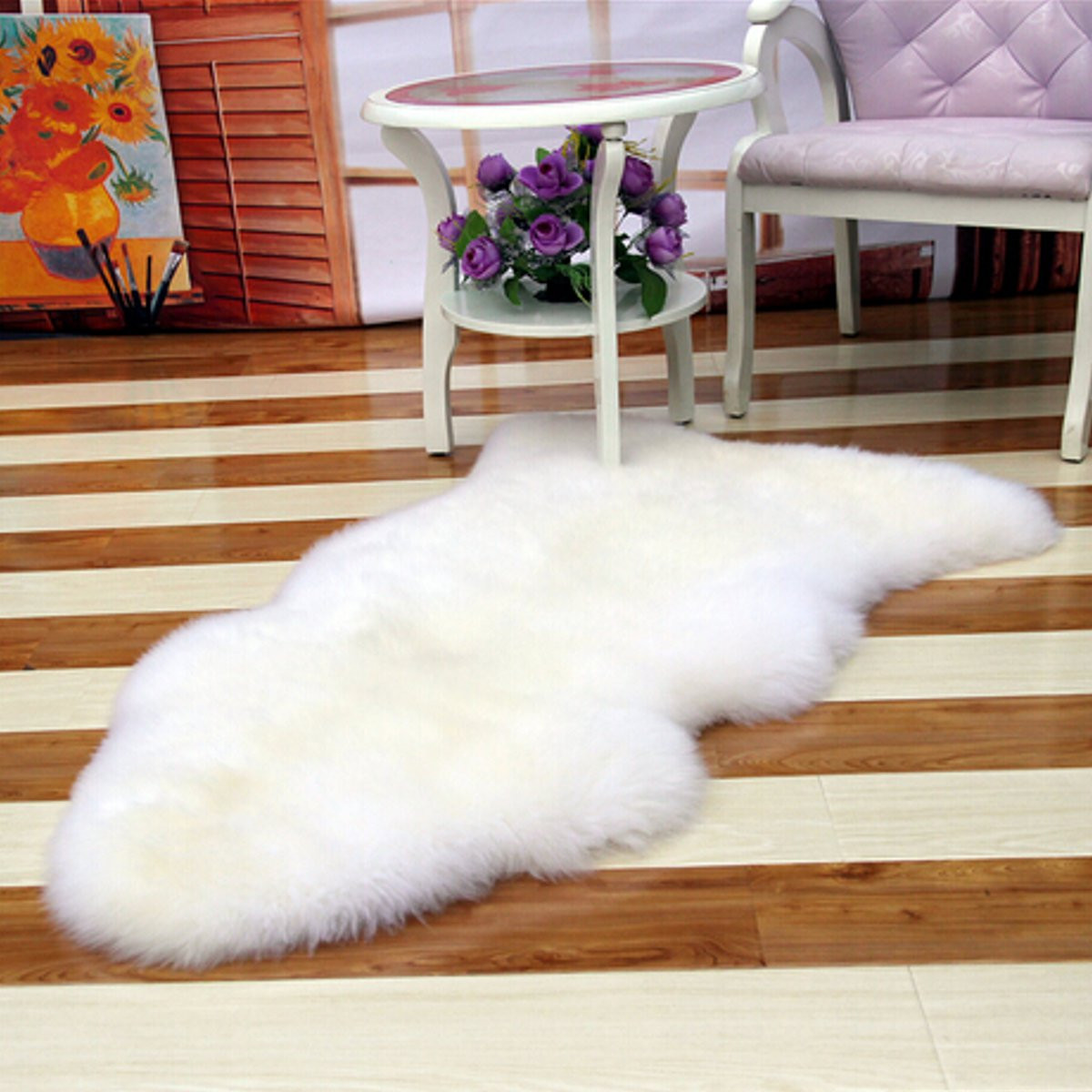 Meigar 252119593140 Soft Sheepskin Plain Fluffy Skin Faux Fur Fake Rug Cheap Washable Mat Small Rugs,White color