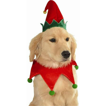 Elf Hat And Collar Pet Costume Dog Christmas Set Santa's Helper Puppy Cat for $<!---->