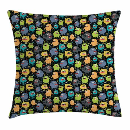Alien Throw Pillow Cushion Cover, Cute Funny Characters Cartoon Style Halloween Themed Monsters Abstract Background, Decorative Square Accent Pillow Case, 18 X 18 Inches, Multicolor, by Ambesonne