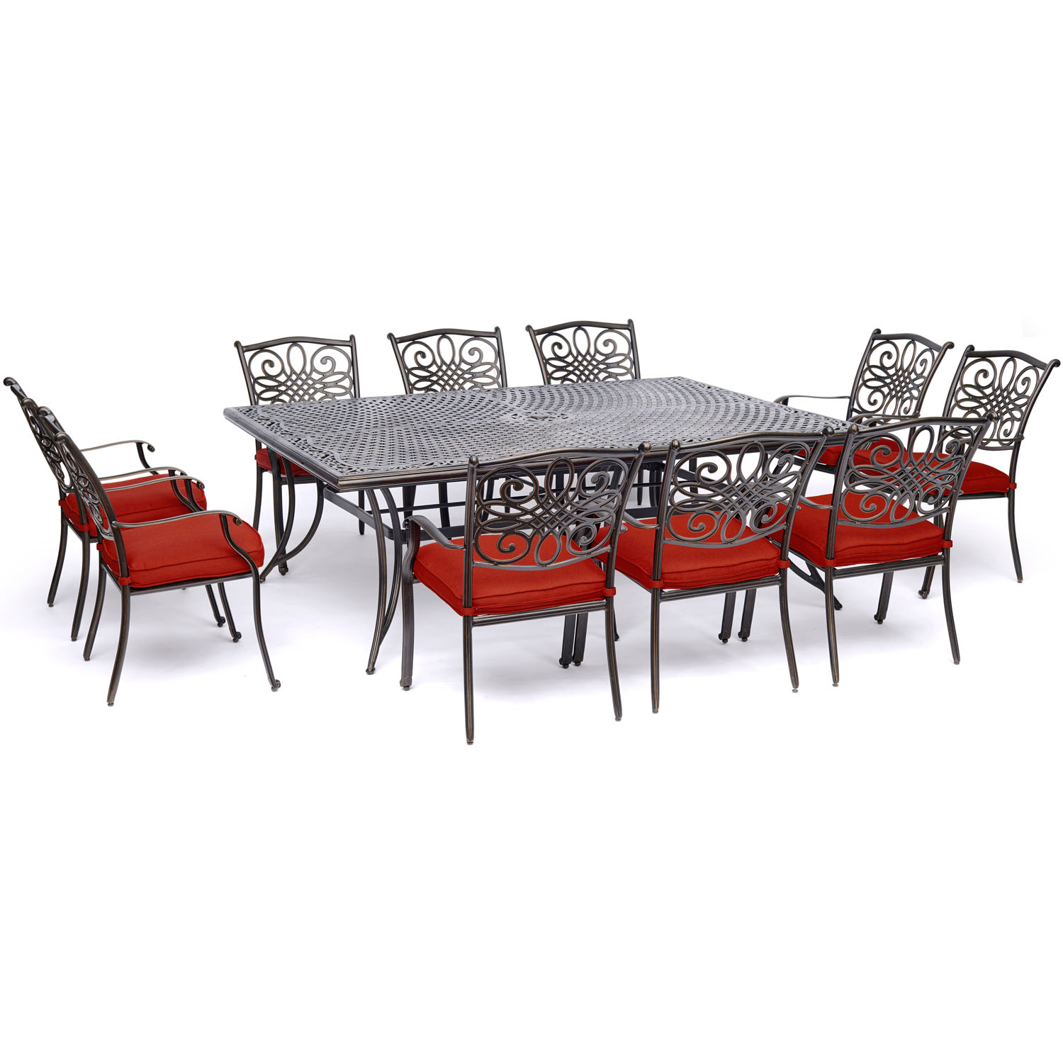 Hanover Traditions 11-Piece Outdoor Dining Set with Cast-Top Table and 10 Stationary Chairs