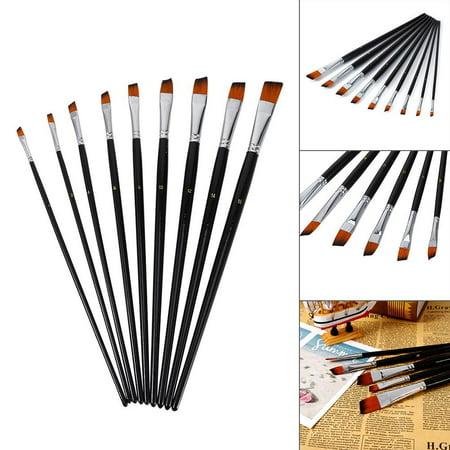 Ejoyous 9 PCS Nylon Oblique Flat Tipped Paint Brushes Set Inclined Plane Wooden Long Handle Brush suit,Paint Brush