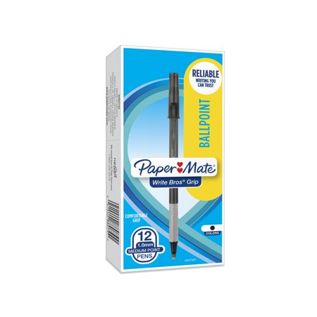 Paper Mate Write Bros Grip Ballpoint Stick Pen, Black Ink, Medium, Dozen