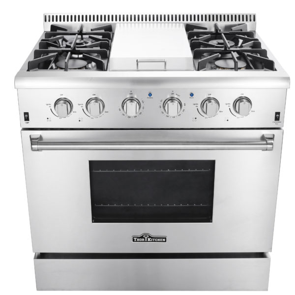 "Thor Kitchen 36"" Professional Free Standing Gas Range with Griddle, Stainless Steel"