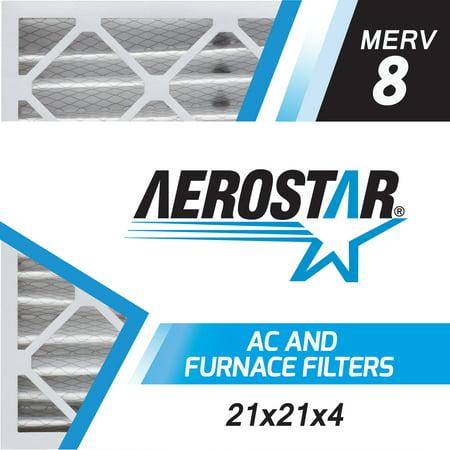 Aerostar 21x21x4 MERV  8, Pleated Air Filter, 21 x 21 x 4, Box of 6, Made in the USA (Furnace Filters 21 X 21)