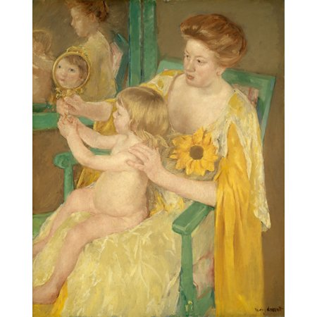 Mother And Child By Mary Cassatt 1905 American Painting Oil On Canvas Cassatt Created A Complex Composition With Reflections From Mirrors In This Green And Gold Portrait Poster Print