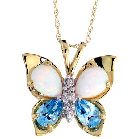 - 10k Yellow Gold Butterfly Necklace Genuine Blue Topaz Created Opal Diamond accent 5/8 inch (17mm) wide