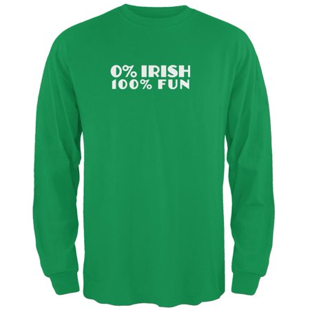 St. Patricks Day 100% Fun Irish Green Adult Long Sleeve T-Shirt