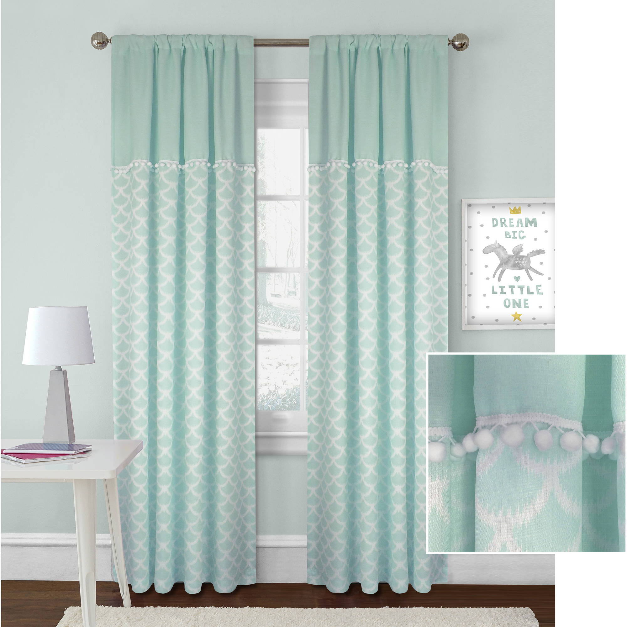Better Homes and Gardens Scallops with Poms Curtain Panel by Colordrift LLC
