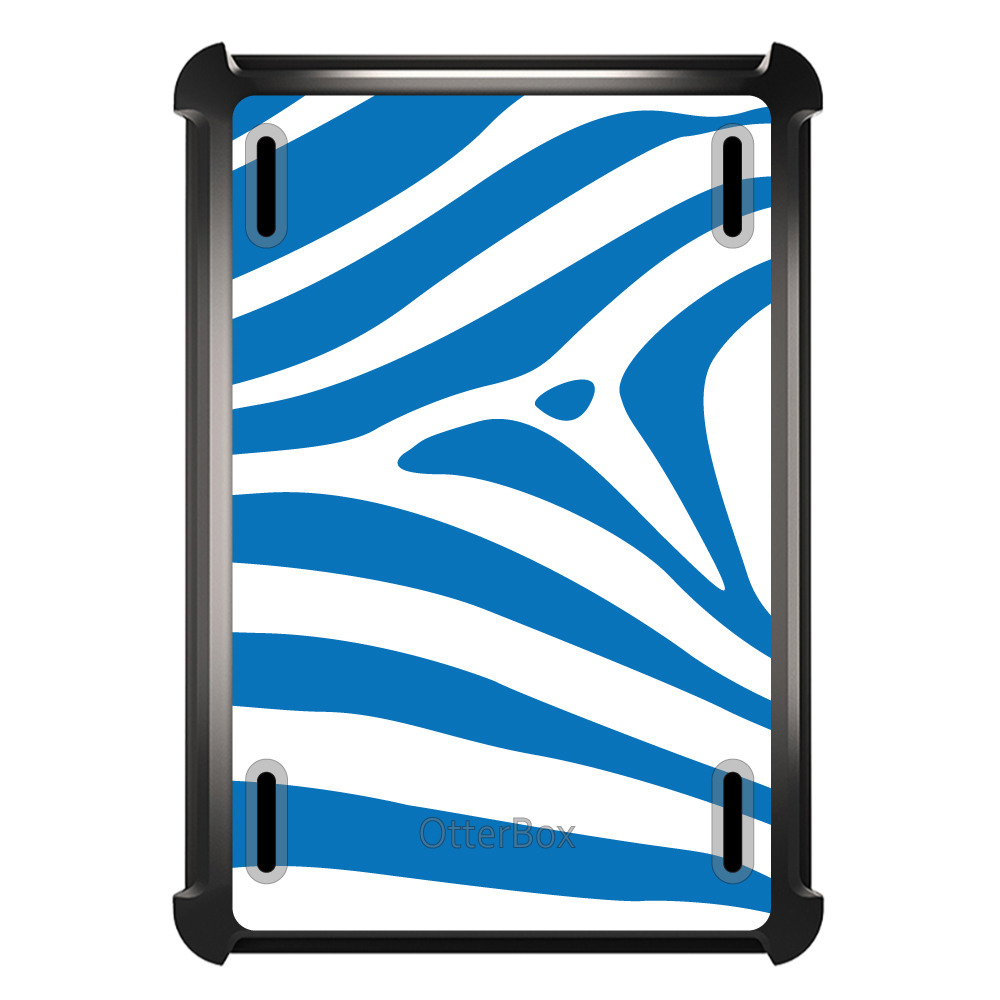 CUSTOM Black OtterBox Defender Series Case for Apple iPad Air 2 (2014 Model) - Blue & White Zebra Skin Stripes