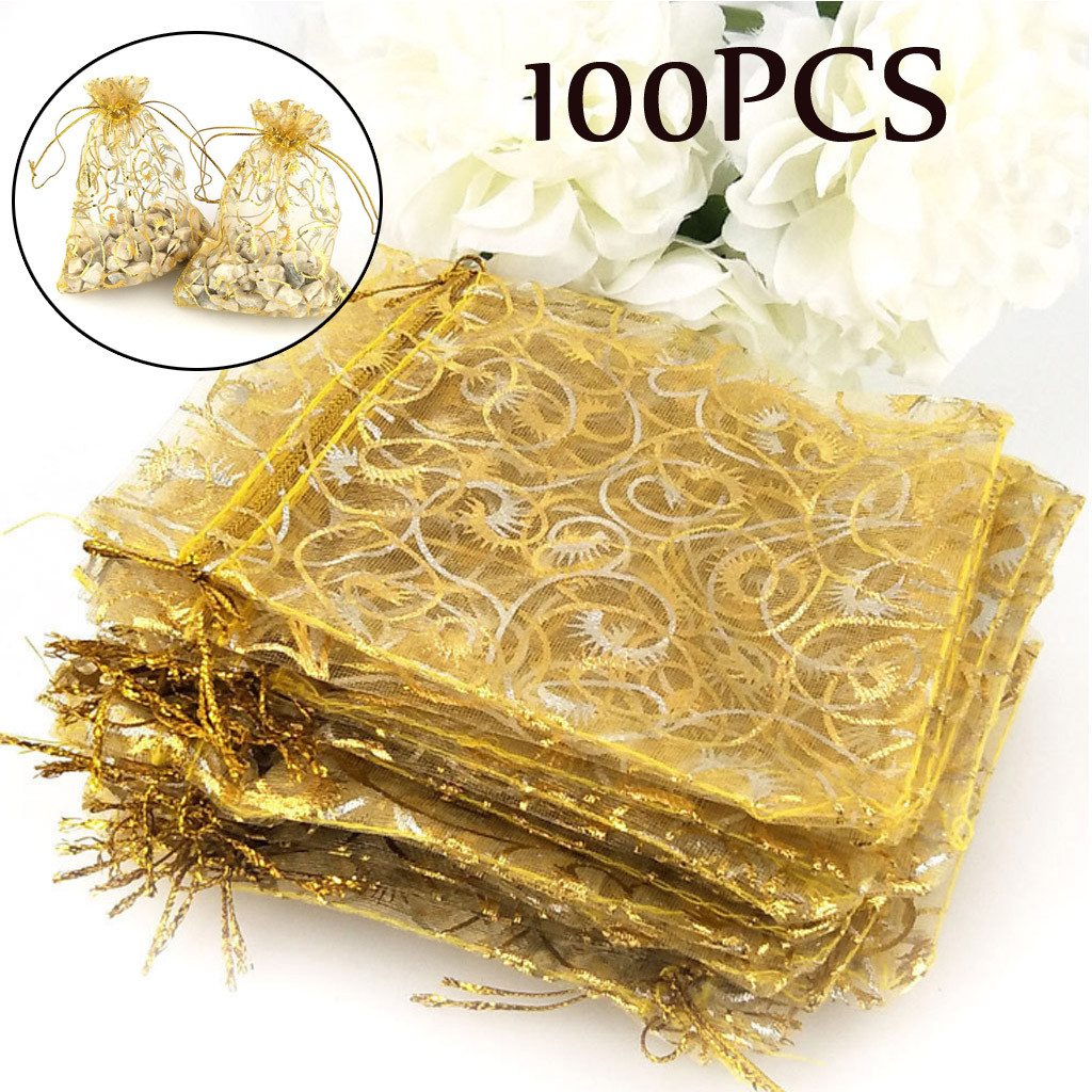 Walmart Wedding Gift Ideas: 100pcs Champagne Organza Drawstring Pouches Jewelry