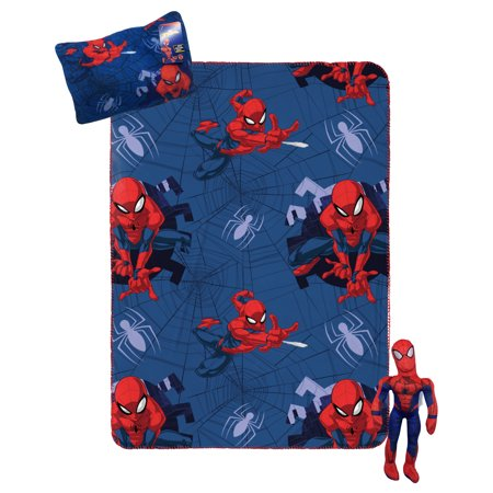 Spiderman Kids Travel Set w/ Throw, Pillow Buddy & Decorative Pillow
