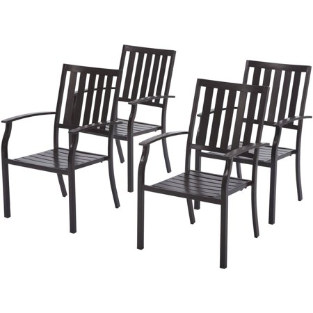 Better Homes And Gardens Camrose Farmhouse Outdoor Mix And Match Slat Back Stacking Chairs Set