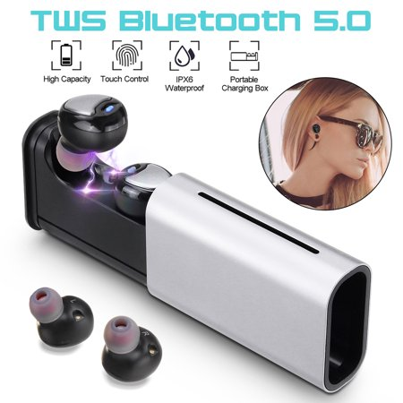 IPX6 True Wireless bluetooth 5.0 Earbuds Touch Control TWS In-Ear Earphones Up to 4 Hours Working Headphones with Charging Storage