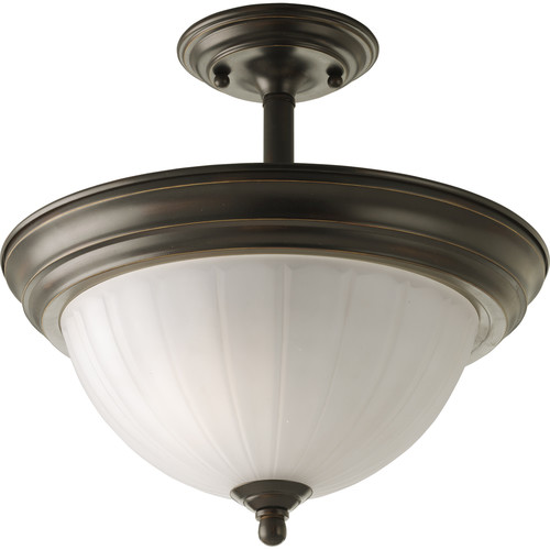 """Progress Lighting P3876 Melon Glass Series 13-1/4"""" Two-Light Semi-Flush Mount Ceiling Fixture with Etched Glass Shade"""
