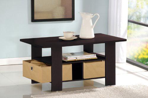 Walnut 1 Pack Furinno Coffee Table with Bin,