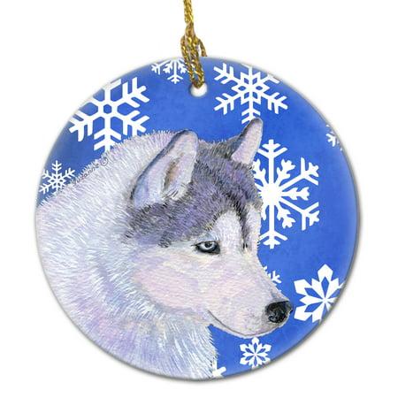 Siberian Husky Winter Snowflakes Holiday Christmas Ceramic Ornament SS4602