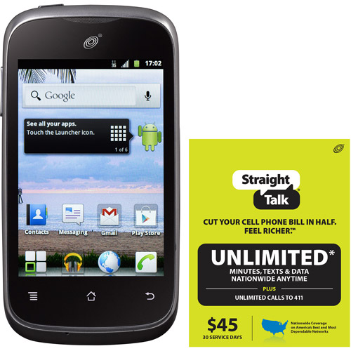 Straight Talk Huawei Ascend Y H866C Refurbished Prepaid Smartphone w/ Bonus $45 Unlimited Plan
