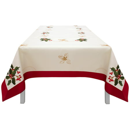 Holiday Holly Berries Embroidered Rectangular Tablecloth With Red Trim Border