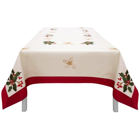 Creative Home Ideas Holiday Holly Berries Embroidered Rectangular Tablecloth with Red Trim Border