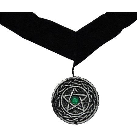 Morris Costumes Velvet Ribbon Pentagram Medallion Green Choker, Style FW8135P - Halloween Medallion