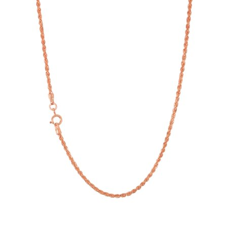 10k Rose Gold Womens 1.5mm Light Diamond Cut Rope Chain Pendant Necklace, 14