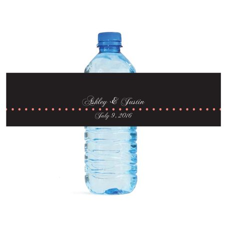 100 Black and Coral Wedding Water Bottle Labels Engagement Party 8 ...