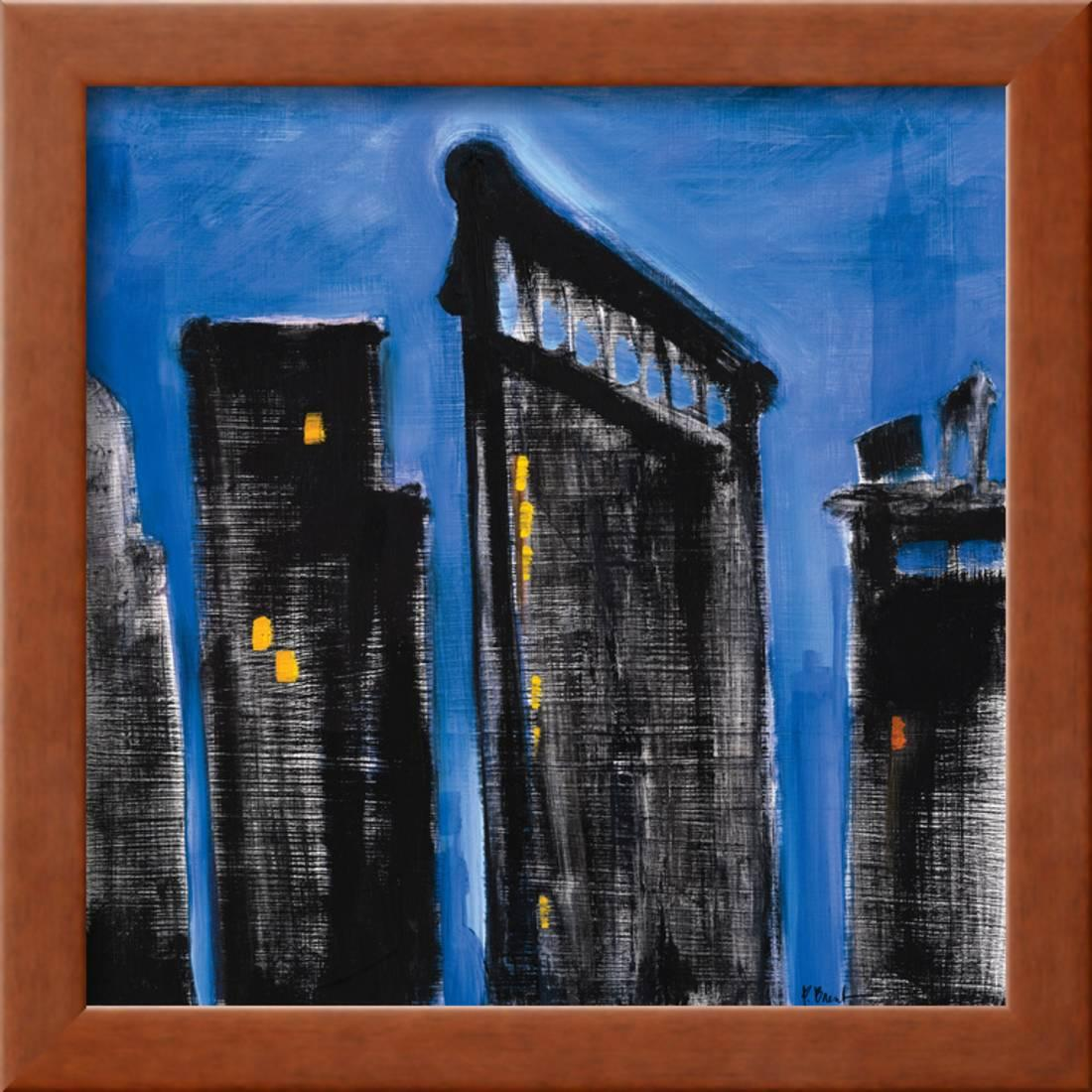 Blue cityscape framed print wall art by paul brent