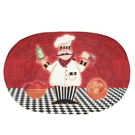 Achim Braided Waterproof Kitchen Rug, Chef Buono Appetito