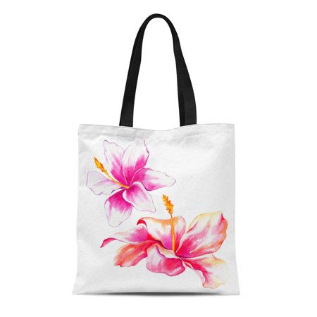 SIDONKU Canvas Tote Bag Pink Two Watercolor Exotic Flowers Hibiscus and Lily White Reusable Shoulder Grocery Shopping Bags Handbag