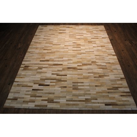 Beige And Cream Patch Work Real Cowhide Hand Made Area Rug Made In