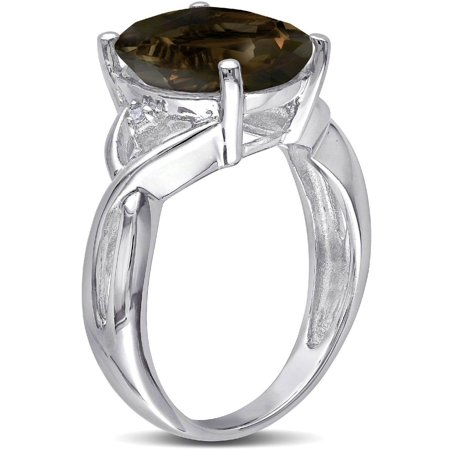3-3/4 Carat T.G.W. Oval-Cut Smokey Quartz and Diamond-Accent Sterling Silver Cocktail Ring