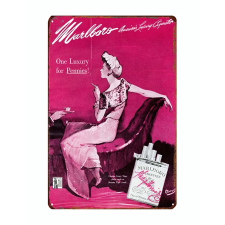 Marlboro luxury cigarrettes tobacco metal tin sign vintage style reproduction 12 x 8 inches - image 1 of 3